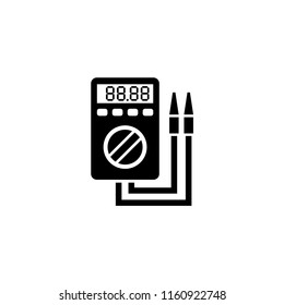 Digital Multimeter, Electric Voltmeter. Flat Vector Icon illustration. Simple black symbol on white background. Digital Multimeter Electric Voltmeter sign design template for web and mobile UI element