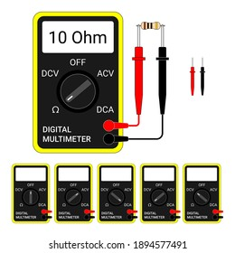 Digital Multimeter. Electrical measuring instrument: Voltage, Amperage, Ohmmeter. Flat style, vector Illustration.