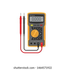 Digital multimeter. flat design concept, Electrical measuring instrument: voltage, amperage, ohmmeter, power, illustration, isolated on white background - Vector