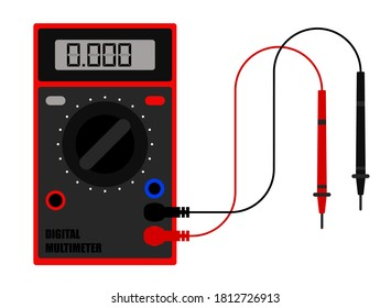 Digital multimeter in flat style, device for measuring current and voltage in electrical circuit. Tool of installer, electrician, system administrator. Minimalistic vector