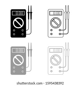 Digital multimeter for measuring electrical indicators AC DC voltage amperage ohmmeter power with probes icon outline set black grey color vector illustration flat style image