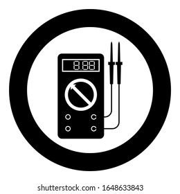 Digital multimeter for measuring electrical indicators AC DC voltage amperage ohmmeter power with probes icon in circle round black color vector illustration flat style image