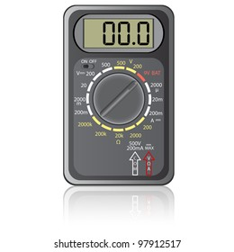 Digital multimeter. Vector illustration. Isolated on white background. Rasterized version also available in portfolio.