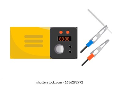 Digital multimeter voltage, amperage, ohmmeter, power, resistance for measurement and troubleshooting. Electrical measuring instrument. Toolbox item for technician, electrician. Vector illustration