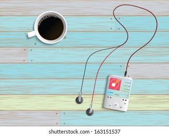 Digital music player and black coffee on break time