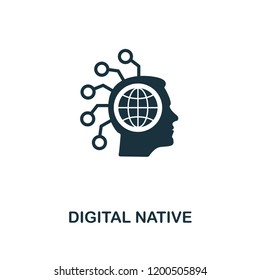 Digital Native icon. Monochrome style design from fintech icon collection. UI and UX. Pixel perfect digital native icon. For web design, apps, software, print usage.