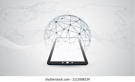 Digital Network Connections, Mobile Technology Background - Cloud Computing Design Concept with Transparent Geometric Wireframe