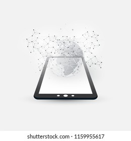 Digital Network Connections, Mobile Technology Background - Cloud Computing Design Concept with Wireframe, Earth Globe and Tablet PC, Mobile Device