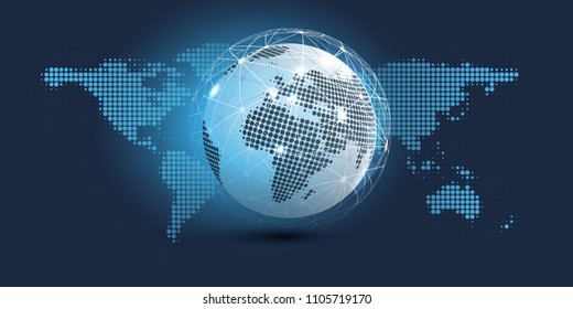 Digital Network Connections, Technology Background - Cloud Computing Design Concept with Spotted Earth Globe and World Map