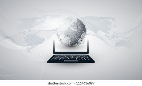 Digital Network Connections, Technology Background - Cloud Computing Design Concept with Earth Globe and World Map