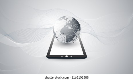 Digital Network Connections, Technology Background - Cloud Computing Design Concept with Earth Globe