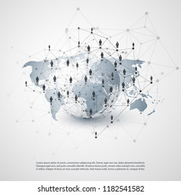 Digital Networks, Global Business Connections - Social Media Concept Design with Globe and World Map