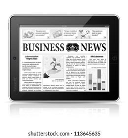 Digital News Concept with Business Newspaper on screen Tablet PC, vector