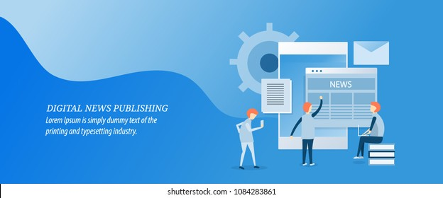Digital news publication, publishing news on digital media flat design vector illustration