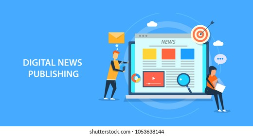 Digital news publishing - Content marketing - Digital media marketing flat vector banner with characters