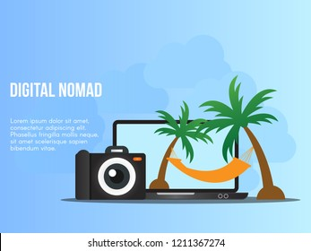 Digital nomad concept. Ready to use vector. Suitable for background, wallpaper, landing page, web, banner and other creative work.