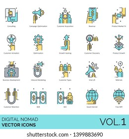 Digital nomad icons including consulting, campaign optimization, acquisition, revenue, product market fit, activation, growth hacking, business development, inbound marketing, viral lift, b2b, b2c.