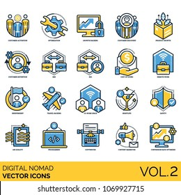 Digital Nomad - Volume 2: icons included   customer activation, product growth, customer retention, B2B, B2C, cost of living, remote work, copywriter, programmer, co-work space, independent and etc