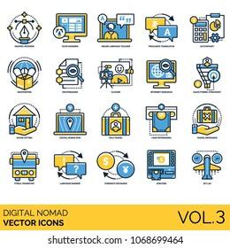 Digital Nomad Volume 3: Icons included graphic designer, freelance translator, vlogger, public transport, accountant, digital nomad hub, internet research, sales funnel strategist & etc.