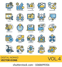 Digital Nomad Volume 4: Icons included seo specialist, lead generation, blogger, email marketing, influencer, time management, productivity, performance marketer, social media marketer & etc.