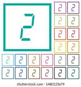 digital number two of seven segment type flat color icons with quadrant frames on white background