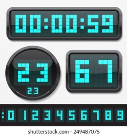 digital numbers and basic clock body shapes set.(dot style cyan numbers and shiny plastic body version)