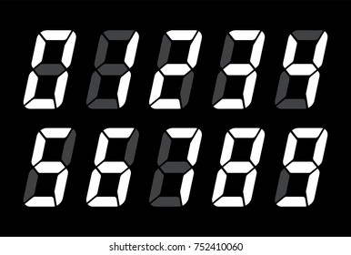 Digital Numbers For Black Lcd Electronic Screen. Vector Illustration Of Digital Numbers As Electronic Digits