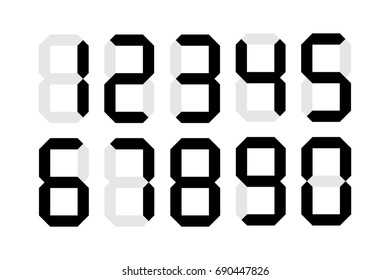 Digital numbers isolated vector