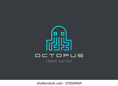 Digital Octopus Logo shape abstract design vector template. Virus, Ddos attack, Soft, apps Logotype concept icon.
