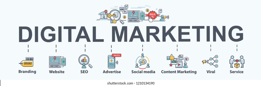 digital online marketing banner web icon for business and social media marketing, content marketing, website, viral, seo, keyword, advertise and internet marketing. Minimal vector infographic.