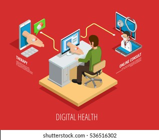 Digital online medical care isometric template with doctor consultation and medicines reception isolated vector illustration