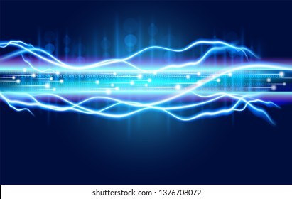 Digital optical fiber technology abstracts with the spark power of high voltage electricity. Expressing the speed and power of the future cable Large data transfer