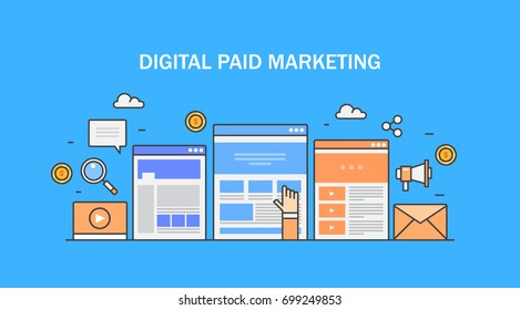 Digital paid marketing, paid advertising on internet, sponsored content flat vector line illustration