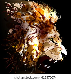 Digital painting of a lion's head. Vector illustration