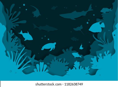 digital paper cut style underwater deep sea background with fishes and coral reefs vector illustration texture