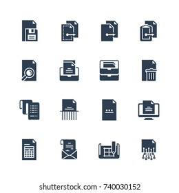 Digital and paper documents vector icon set in glyph style