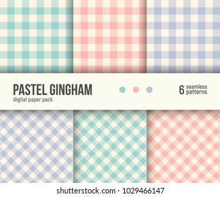 Digital paper pack, set of 6 abstract seamless patterns. Abstract geometric backgrounds. Vector illustration. Traditional classic Gingham tablecloth pattern, pale pastel colors blush pink, teal, blue