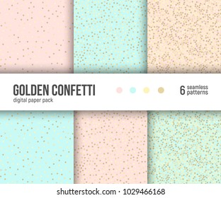 Digital paper pack, set of 6 abstract seamless patterns. Abstract geometric backgrounds. Vector illustration. Pastel blush pink, mint and gold colors. Golden confetti pattern.