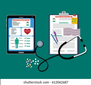 The digital and paper tablet with stethoscope and pills vector illustration.