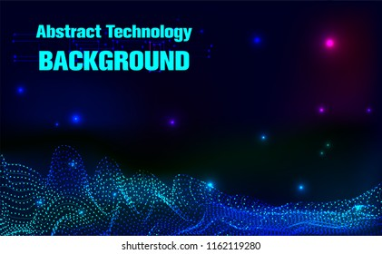 Digital Particle Waves.wavy particle waves structure made of shuffled round.Abstract Technology background.Cyber technology wire network futuristic wire frame.space Artificial intelligence.Vector