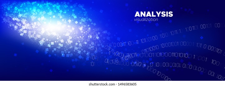 Digital Particles. Light Technology Background. Binary Coding. Neon Abstract Matrix. Particles Stream. Blue Streaming Backgrounds. Glow Binary Pattern. Glow Matrix Digits. Light Particles Vector.