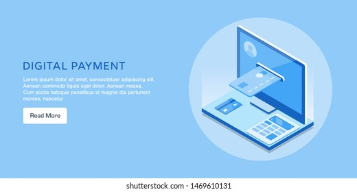 Digital payment, online shopping, payment gateway, conceptual flat design isometric vector banner isolated on blue background