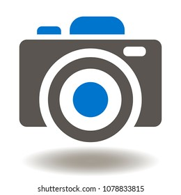Digital Photo Camera Icon Vector. Photocamera Logo Symbol.