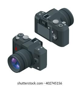 Digital photo camera. SLR camera. Flat 3d vector isometric illustration of Camera..