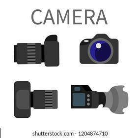 Digital photocameras set with lens isolated on white. Plastic studio photography equipment with zoom, analog photo camera with flash light vector illustration