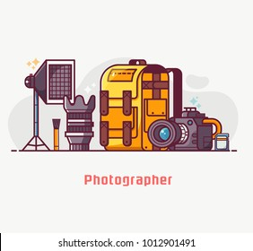Digital photography lifestyle with professional photographer equipment. Such as camera, lens, softbox, cleaning kit and photo bag. Photostudio concept banner in flat design.