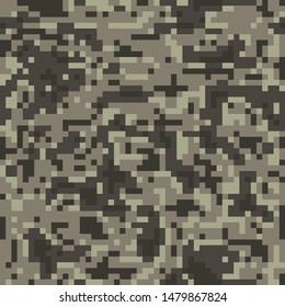 Digital pixel brown camouflage, seamless pattern for your design. Desert camo texture . Clothing military style. Vector background