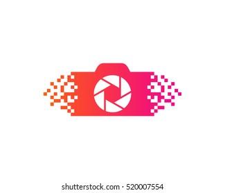 Digital Pixel Camera Logo Design Template