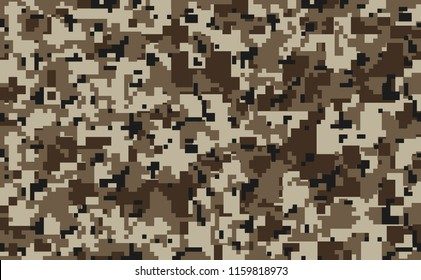 Digital pixel camouflage seamless pattern for your design. Desert color military camouflage fabric. Vector camo texture
