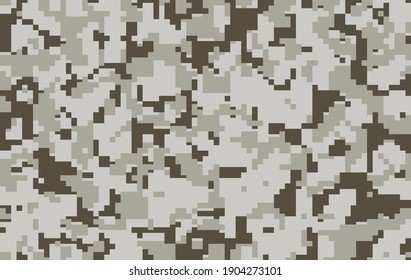 Digital pixel sand gray camouflage, seamless pattern for your design. Modern camo clothing, military style. Vector texture